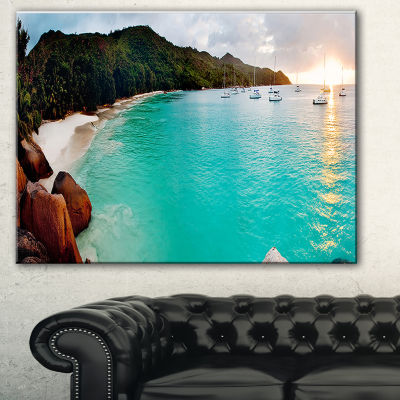 Designart Tropical Beach With Blue Waters SeascapeCanvas Art Print - 3 Panels