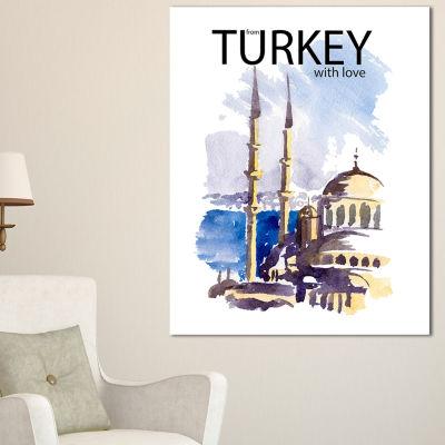 Designart Turkey Vector Illustration Cityscape Canvas Art Print - 3 Panels