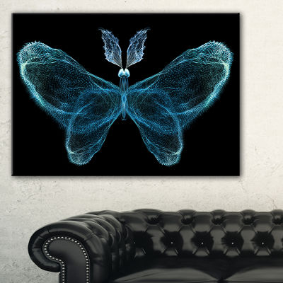 Designart Turquoise Fractal Butterfly In Dark Abstract Canvas Art Print - 3 Panels