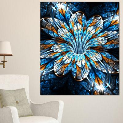 Designart Turquoise Fractal Flower In Dark FloralCanvas Art Print - 3 Panels