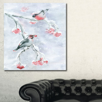 Designart Two Birds With Berries Animal Art CanvasPrint - 3 Panels
