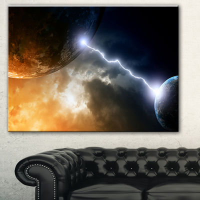 Designart Two Planets In Space Spacescape CanvasArt Print - 3 Panels