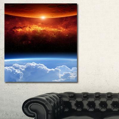Designart Two Planets Spacescape Canvas Art Print