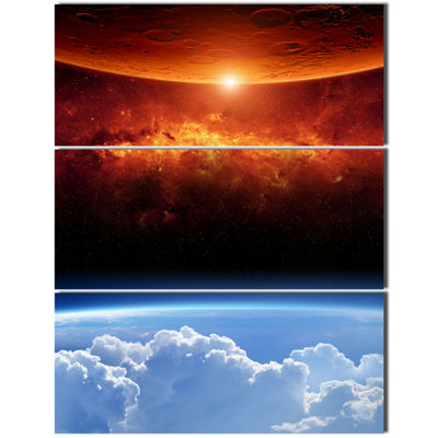 Designart Two Planets Spacescape Canvas Art Print-3 Panels