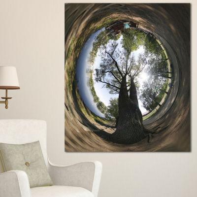 Designart Ufa Little Planet Panorama Tree Photography Canvas Print - 3 Panels