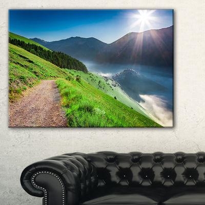Designart Umbria Mountains Sunny Sunrise LandscapePhotography Canvas Print - 3 Panels