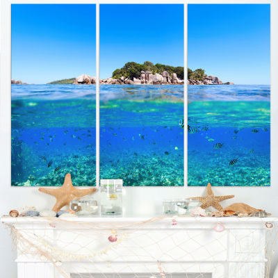 Designart Under And Above The Waters Seascape Canvas Art Print - 3 Panels