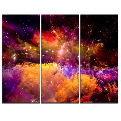 Designart Universe Fractal Burst Abstract Canvas Art Print - 3 Panels