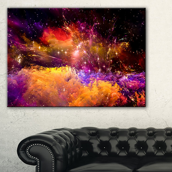 Designart Universe Fractal Burst Abstract CanvasArt Print - 3 Panels