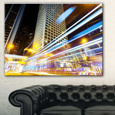 Designart Urban City Traffic Trails Cityscape Digital Art Canvas Print - 3 Panels