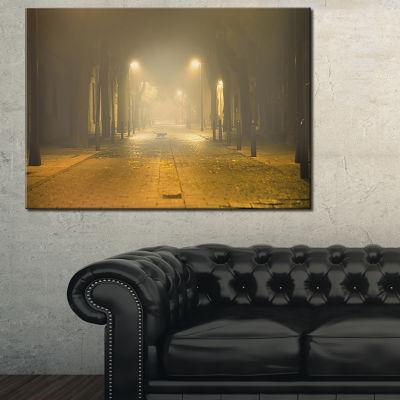 Designart Urban Street At Night Landscape Photo Canvas Art Print