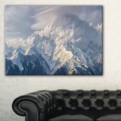 Designart Ushba Peak In Clouds Landscape Photography Canvas Print - 3 Panels
