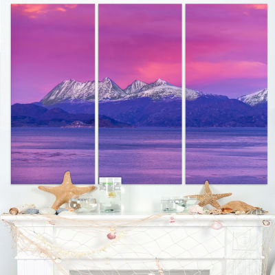 Designart Ushuaia Sunrise Argentina Beach And Shore Canvas Art Print - 3 Panels