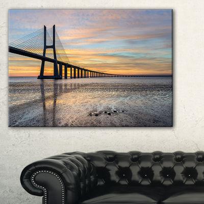 Designart Vasco De Gama Bridge Lisbon Seascape Canvas Art Print - 3 Panels