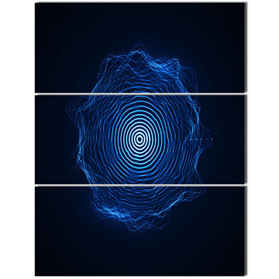 Designart Vector Illuminated Blue Shape AbstractArt - 3 Panels