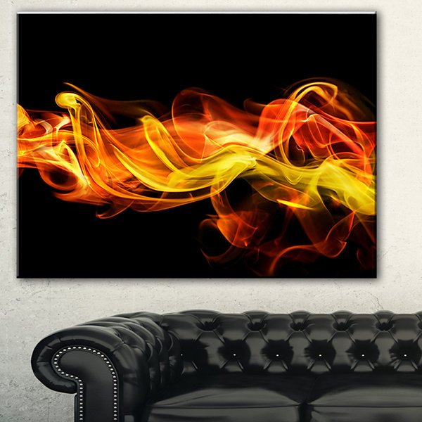 Designart Vibrant Yellow Red Waves Abstract CanvasArt Print - 3 Panels