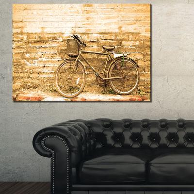 Designart Vintage Bicycle Against Brown Wall Landscape Art Print Canvas - 3 Panels