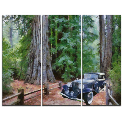 Designart Vintage Car In Forest Landscape PaintingCanvas Print - 3 Panels