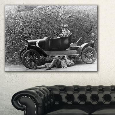 Designart Vintage Car Repair Car Photography Canvas Art Print - 3 Panels