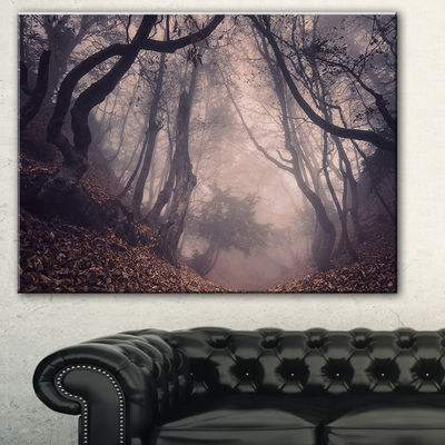 Designart Vintage Foggy Forest Trees Landscape Photography Canvas Print - 3 Panels