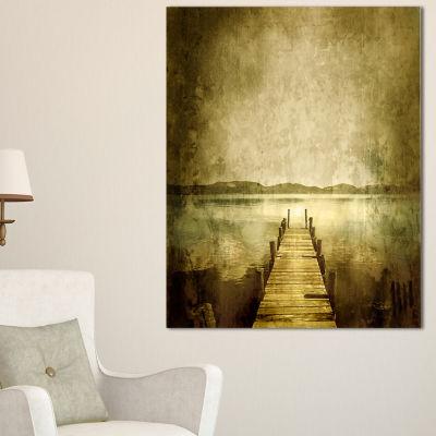 Designart Vintage Pier Over Lake Landscape CanvasArt Print - 3 Panels