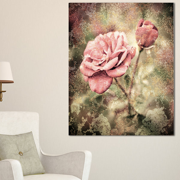Design Art Vintage Pink Roses With Water Drops Floral Art Canvas Print - 3 Panels
