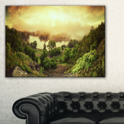 Designart Vintage Raising Landscape Photography Canvas Print - 3 Panels