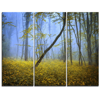 Designart Vintage Style Colorful Forest LandscapePhotography Canvas Print - 3 Panels