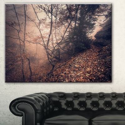 Design Art Vintage Style Leaves And Trees LandscapePhotography Canvas Print - 3 Panels