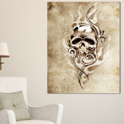 Designart Vintage Style Skull Devil Tattoo Abstract Print On Canvas