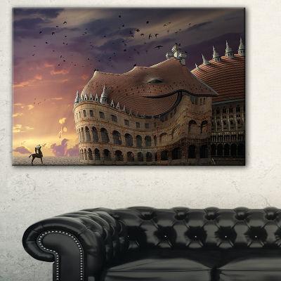 Designart Wake Up Dragon Collage Landscape CanvasArt Print - 3 Panels