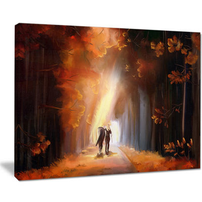 Designart Walking In Park Landscape Canvas Art Print