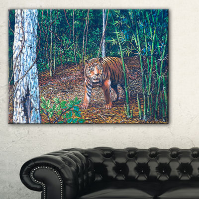 Designart Wandering Tiger In Forest Animal CanvasArt Print - 3 Panels