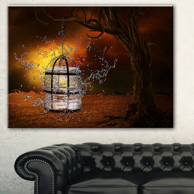 Designart Water Locked Cage Abstract Canvas Art Print