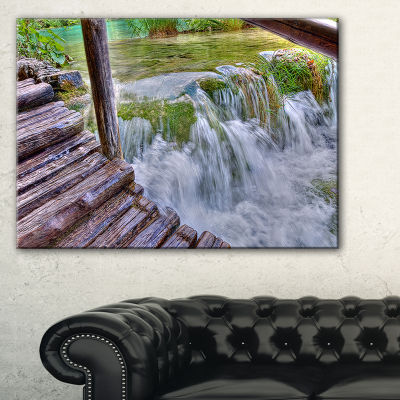 Designart Waterfall In Plitvice Lakes Landscape Photo Canvas Art Print