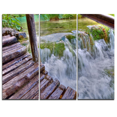 Designart Waterfall In Plitvice Lakes Landscape Photo Canvas Art Print - 3 Panels