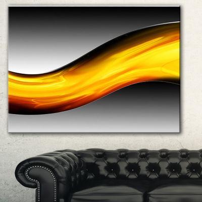 Designart Wave Of Golden Lava Abstract Canvas ArtPrint - 3 Panels