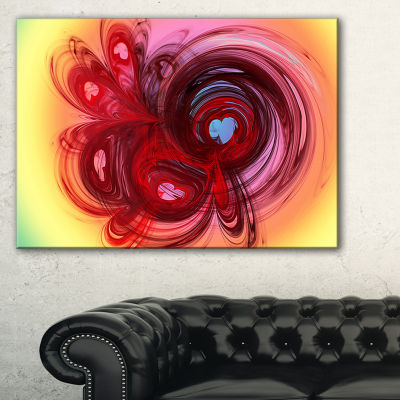Designart Waves Around The Hearts Abstract CanvasArt Print - 3 Panels