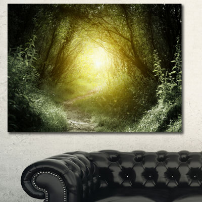 Designart Way In Deep Forest Landscape PhotographyCanvas Print - 3 Panels