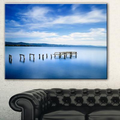 Designart White Clouds And Blue Sea Seascape Canvas Art Print - 3 Panels
