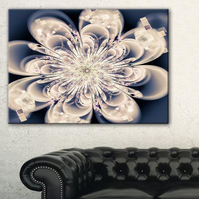 Designart White Fractal Flower Modern Floral Canvas Art Print - 3 Panels