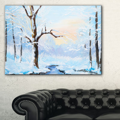 Designart White Frozen River In Forest LandscapePainting Canvas Print - 3 Panels