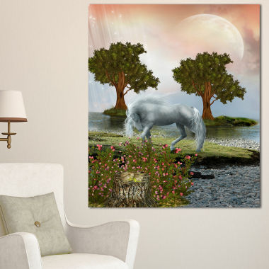 Designart White Horse And Green Trees Landscape Canvas Art Print