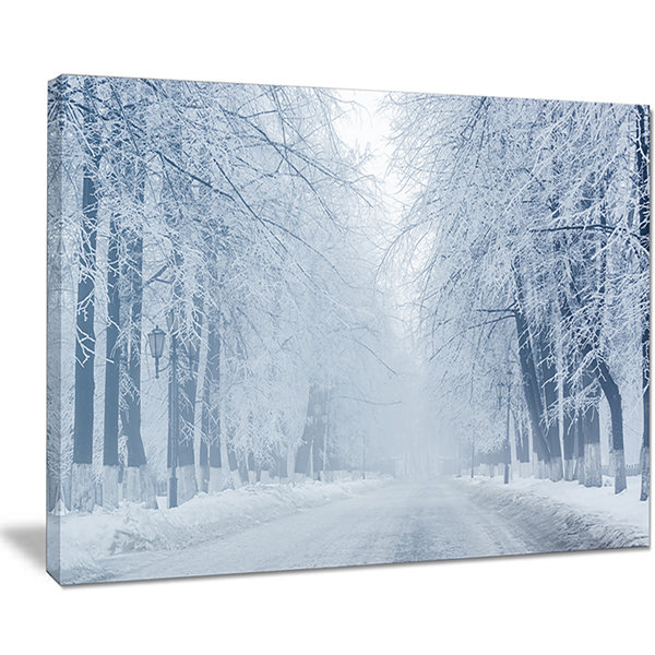 Designart White Road And Winter Trees Landscape Photography Canvas Print