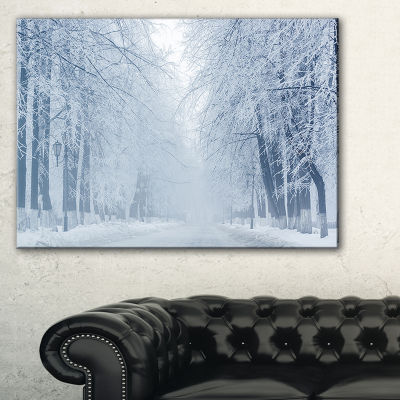Designart White Road And Winter Trees Landscape Photography Canvas Print - 3 Panels