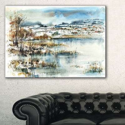Designart Wide Blue Winter Lake Watercolor Landscape Painting Canvas Print - 3 Panels