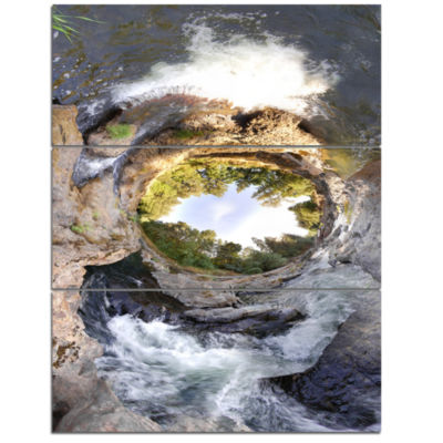 Designart Wild River Tube Landscape Photography Canvas Art Print - 3 Panels