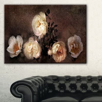 Designart Wild Roses In Old Painting Style FloralArt Canvas Print - 3 Panels
