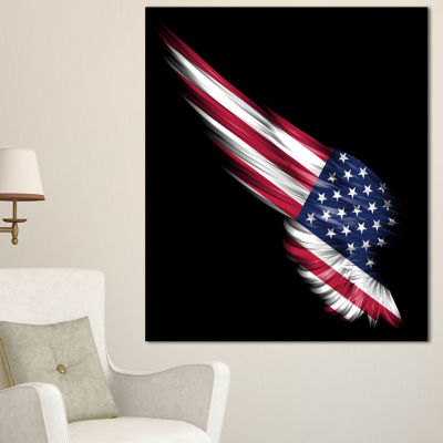 Designart Wing With American Flag Abstract Print On Canvas - 3 Panels