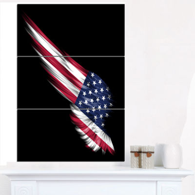 Designart Wing With American Flag Abstract PrintOnCanvas - 3 Panels